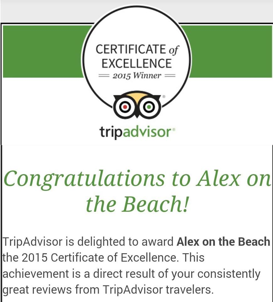 Alex on the Beach gets Trip Advisor Certificate of Excellence!